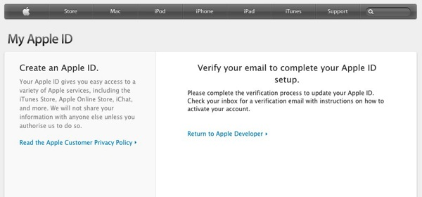 Apple My Apple ID 登録完了