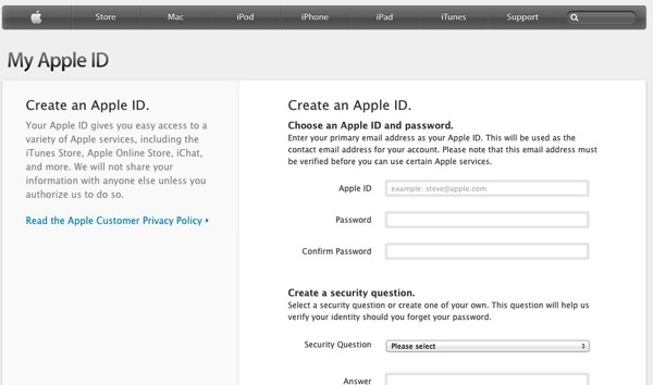 Apple My Apple ID登録画面