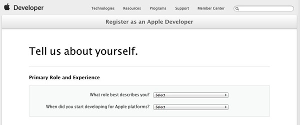 Tell us about yourself Apple Developer Registration Apple Developer