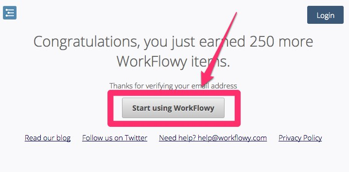 start using workflowyをクリック