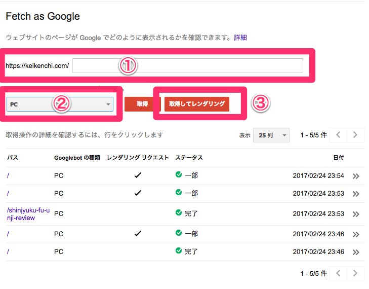 Search Console Fetch as Google を実行