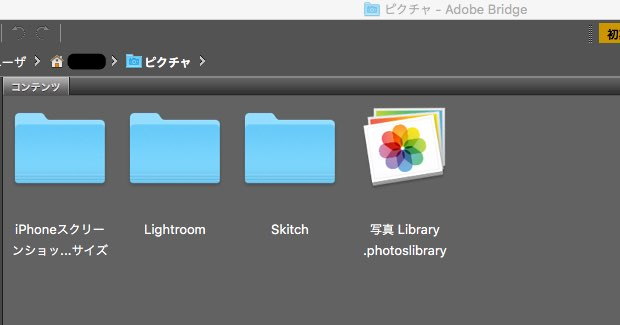 Adobe BridgeでPhotosを表示させる